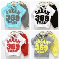 2013 Baby suit boy girls Sport suits 100% cotton kids clothing set, hooded T-shirt+pant, CREAM 369 SUGARY children set