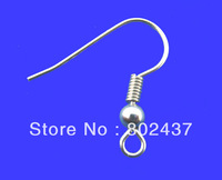 Free Shipping! 200PCs Silver Tone Ear Wire Hook With Spring and Ball 18*19mm (B00274)