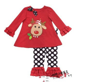 Free Shiping 5 sets/lot 80-120 Girl Deer Embroidered Christmas Cotton Red Shirt and White Dots Pants 2 Pieces Suit
