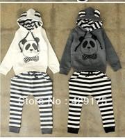 Free shipping /5set/lot/2013 autumn cartoon panda suit / children other clothing / panda Hoodie + fringe Haren pants