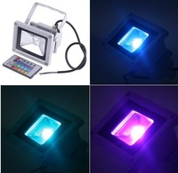 20pcs RGB 10W Waterproof LED RGB Outdoor Flood Light& Remote Control 10W 85-265V 16Color 900LM Free shipping