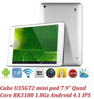 Free shipping Cube U35GT2 Quad Core Mini pad RK3188 cortex a9 1.8GHz 7.85 Inch IPS 2GB 16GB OTG HDMI Dual camera 5.0MP