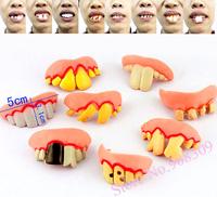 Free shipping, 8pcs Terrible Funny Goofy Fake Rotten Teeth Halloween Party Favor Creepy Dentures,party Supply