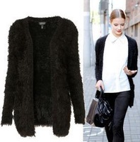 Free Shipping 2013 spring and autumn new women long black mohair cardigan European and American exquisite sweater coat  women