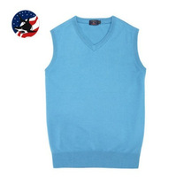 On Sale Brand New Autumn Men's Sleeveless Sweater V-neck Men's Sweater Clothing Solid Color Casual Fashion Christmas Sweater