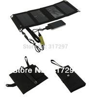 Free Shipping 7 Watt Solar Powered Phone Charger+4200mah Portable Battery Backup for iPhone+Wallet Design+Mono Solar Panel