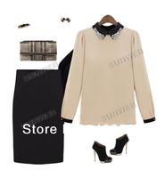 Women's European Style Doll Collar Chiffon Shirts Long Sleeve Leisure Top Blouse S,M,L dropshipping 13533