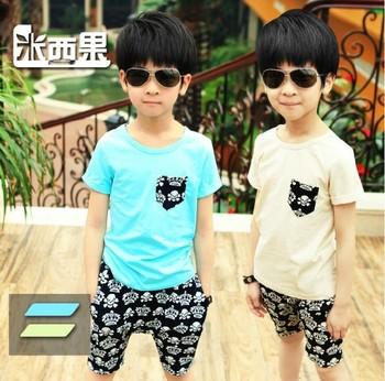 Male child set summer 2013 boy children skull pocket clothing casual sport fashion short-sleeve set