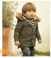 Retail boys hooded winter coat detachable cap top quality jacket / coat baby coat free shipping in stock