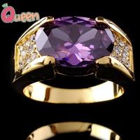 G062Jewellery  Jewelry Amethyst men's 10KT yellow Gold Filled Ring size9/10/11/12
