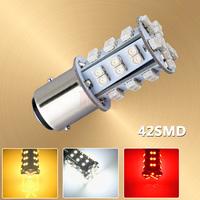 1157 BAY15D P21/5W 42 SMD Red Fog Tail Turn Signal 42 LED Car Bulbs Brake Lights External Lamp 12V Parking Car Light Source