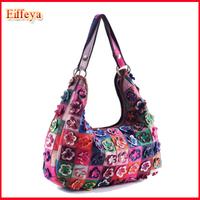 2014 New Arrival Patchwork Bohemia 100% Genuine Leather Woman Bags Fashion Flower Handbags Ladies Shoulder Bag M107