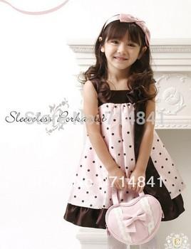 278 free shipping 2color 5pcs/lot girl dress kids dresses Sling Princess Dress - Princess dot with bow dress