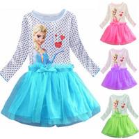 Baby girl 2015 new baby dresses brand cartoon summer dress 2015 girl's tutu dress elsa costume kids  princess,baby clothing