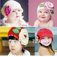 Hot Selling Retail Children Handmade hat Knitted caps Winter baby Girls flower hats cap Crochet Free shipping A07M30