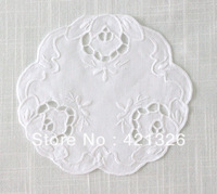 Hot Sale Cute Precious White Color 100% Cotton Hand Embroidery Cutwork Table mat  Plate mat  Size 6'' T140R