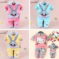 Clothing Sets Hello kitt 2014 Spring Baby Set Cartoon Rabbit Velvet Twinset Long Sleeve Hoodie And Pant Children Clothing