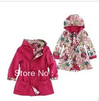 2013 autumn hot selling girls both side wear cotton red coat