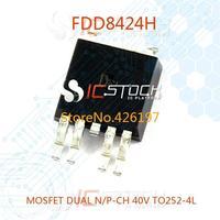 FDD8424H MOSFET DUAL N/P-CH 40V TO252-4L 8424 FDD8424 30pcs
