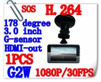 Free Shipping Original Blackview 1080P Full HD Car DVR G2W DVR + G-Sensor+ H.264 + HDMI + Enhanced IR Night Vision