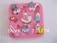 1PCS Baby care Chocolate Candy Jello 3D silicone Mold soap Mould Cartoon Figre/cake tools