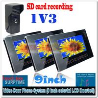 """New 9"""" Auto Recording Video Door Phones Intercom System Door Bell Home Security with Waterproof Camera (1 camera+3 LCD screens)"""