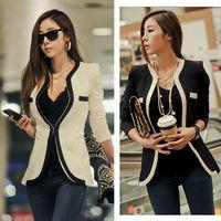 2014 Spring Elegant Long Sleeve Suit Jacket Women Double Pockets Shoulder Pads Blazer Mandarin Collar Casual Coat S-M nz39