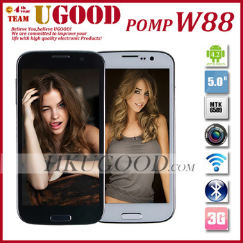 Hot Selling Original Pomp W88 MTK6589 Quad Core 1G RAM-4GB ROM Android 4.2 OS 5'' Inch IPS Multi Touch Screen 8.0Mp Camera
