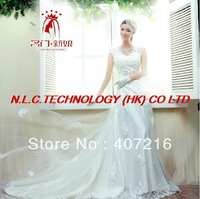 DHL free Noble princess bride wedding dresses, luxurious strapless erogenous elegant lace wedding dress