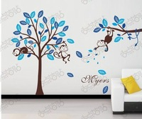 PVC DIY Household MONKEY and TREES  Wall stickers Glass stickers