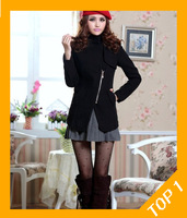 Free shipping 2013 wholesale promotion new women's woolen coat jacket, Long section, zipper thicken winter woolen coat 5183