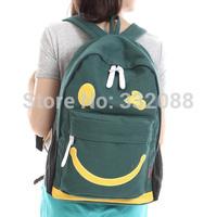 Hot Selling Canvas Bag Smiley printing Design Men's Backpacks Middle School Sudents  bag women's Shoulder Backpack