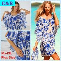 2015 Retail New Spring And Summer Plus Size Holiday Bikini Outside Smock Blue and white ice Silks beach dress retro print dress