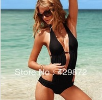 2013 Hot Selling Black and Pink Color Halter Naked Back One Piece Modest Swimsuits Women With Pleated Desgin Monokini 1009