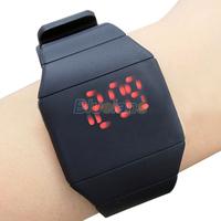 luxury Ultra-thin Fashion Mens Lady Women Touch Digital Red Led Silicone Sports Wrist Watch 00TI