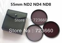 55MM 55 mm Neutral Density ND2 ND4 ND8 lens Filter Kit Set ND 2 4 8 + Leather Bag For Canon Nikon Sony All DSLR SLR Camera