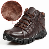 2013 Winter men boots New Stylish Men's OutDoor Shoes,Lace-Up Warm Plush Boots genuine Leather Waterproof+Rubber Free Shipping