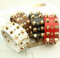 Min.order is $15(mix order),new fashion new punk golden rivet  women PU bracelet , men's leather bangle,promotion,Free shipping