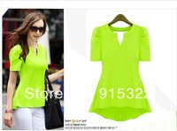 Women's Peplum Tops Frill Puff Sleeve Fitted Shirt Clubwear Blouse Four Colors