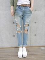 Big Hole Loose Vintage Rip Jean Pants for Woman F28 Wide Leg Trouers Fashion Korea Hot Sale Design Good Quality