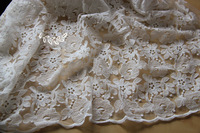 Cheap 1 yard 120cm Clothes curtain lace organza flower embroidered gauze lace trims white handmade cloth scarf lace fabric