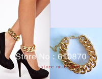 2013Newest Hot Selling Shiny Fashion Women Chic Curb Chunky Gold Chain Anklet Ankle Bracelet Foot Bangle Jewelry