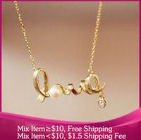 A011 Fashion women necklaces pendants pearl LOVE style