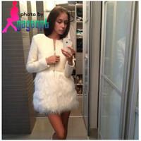 New 2014 spring winter fashion white tweed fur coat women cute korea style woolen jacket outerwear Free shipping wholesale