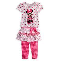 2014 New Hot Sale Baby Girl Suit 2 Pcs Short Sleeves Minnie Mouse Dot Print Bot T shirt+Bow Layered Mini Tutu skirt Leggings