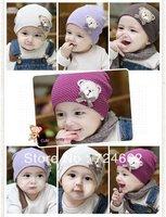 Free shipping 2pcs/lot  cute bear baby cap Kids hats Cotton Beanie Infant hat children baby hat Cap Crohet Rabbit  10 Colors