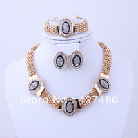Free shipping new design fashion necklace set top quality gold plated costume bridal wedding gift jewelry sets