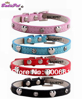 MOQ:12pcs(6colors&2sizes available)!Free Shipping!Cute Heart&Rhinestones Small Dog Collar