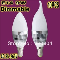 wholesale - 10PCS - Dimmable Ultra bright 6W 9W 12W 15W E14 LED candle bulb,LED lamp,Guarantee 2 years,free shipping