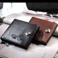 Purse Wallets for men Hot Sale Men's casual suction Buckle Leather Wallet Men Wallets Leather Man Purse Wallet Clip